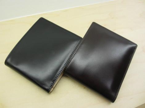 コードバン二つ折り財布 水染め